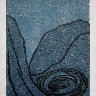 Dark Landscape/In the Valley - linocut by Cathy Durso